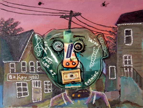 Konstantin Bokov, IQ = OK?, Found Art Collage Painting
