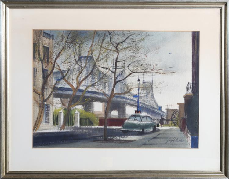 Joseph Barber, Lower East Side, Pastel Drawing