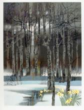 Robert Peak, Early Spring Forest (Chris Evert-Lloyd), Autographed Lithograph