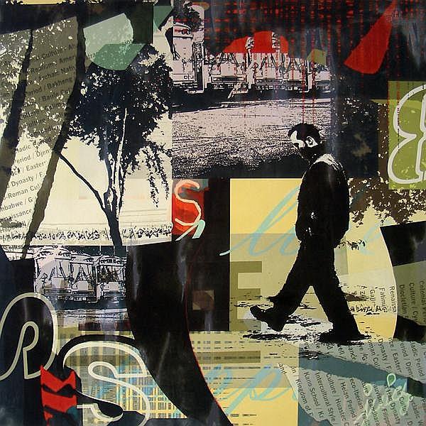 Sara Abbott, Urban Radio II, Mixed Media Painting