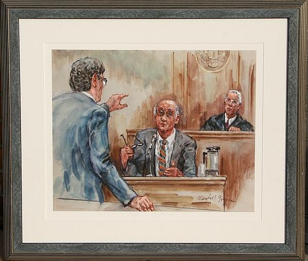 Marshall Goodman, Courtroom Scene with Lawyer, Giclee