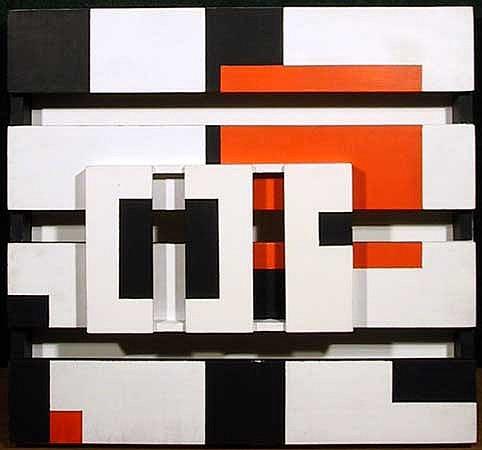 Pieter Wiegersma, Orange Square, 3-D Acrylic on Wood Construction