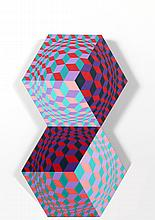 Victor Vasarely, Kettes, Painted Wooden Sculpture