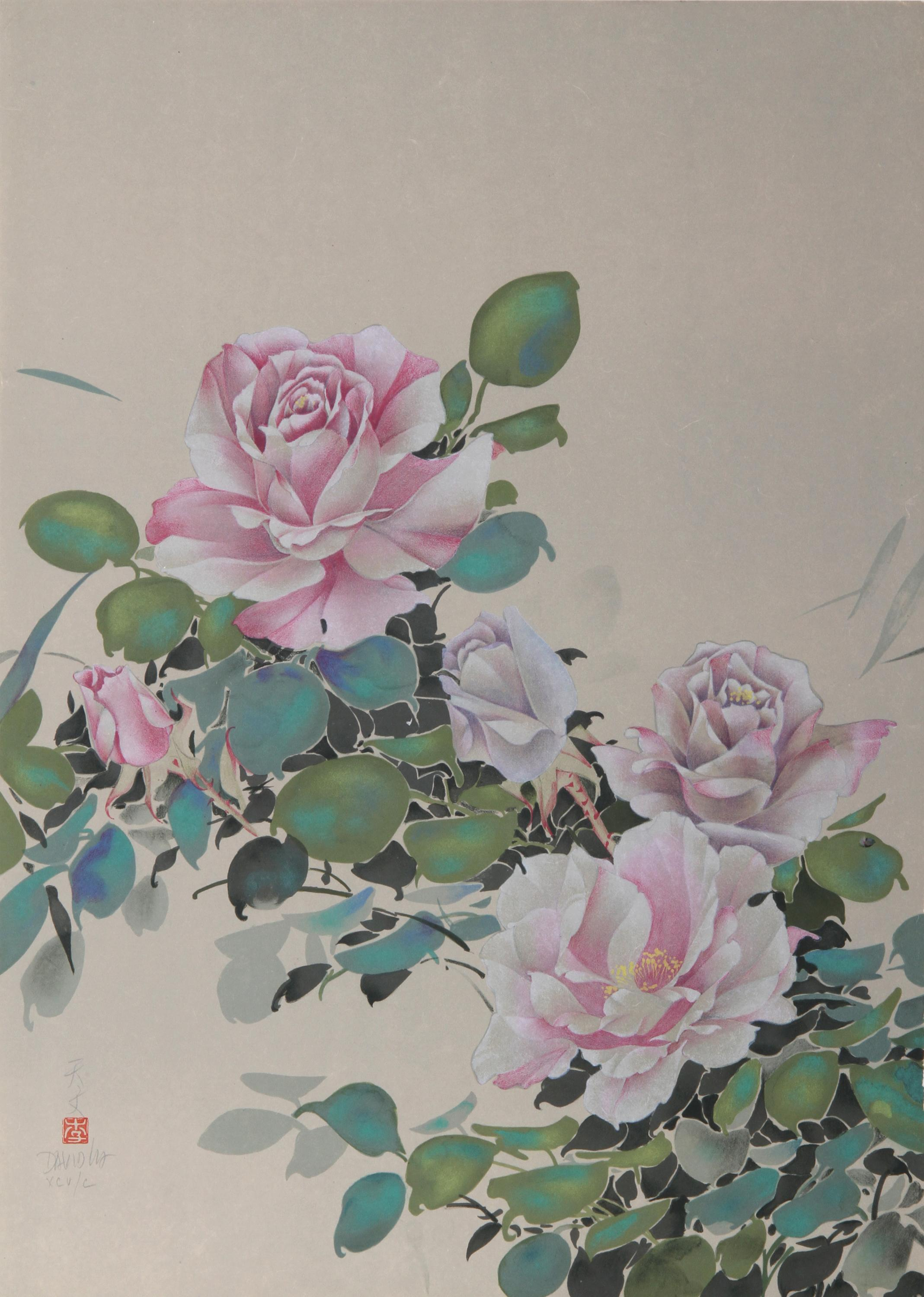 David Lee, Pink Roses (8), Lithograph