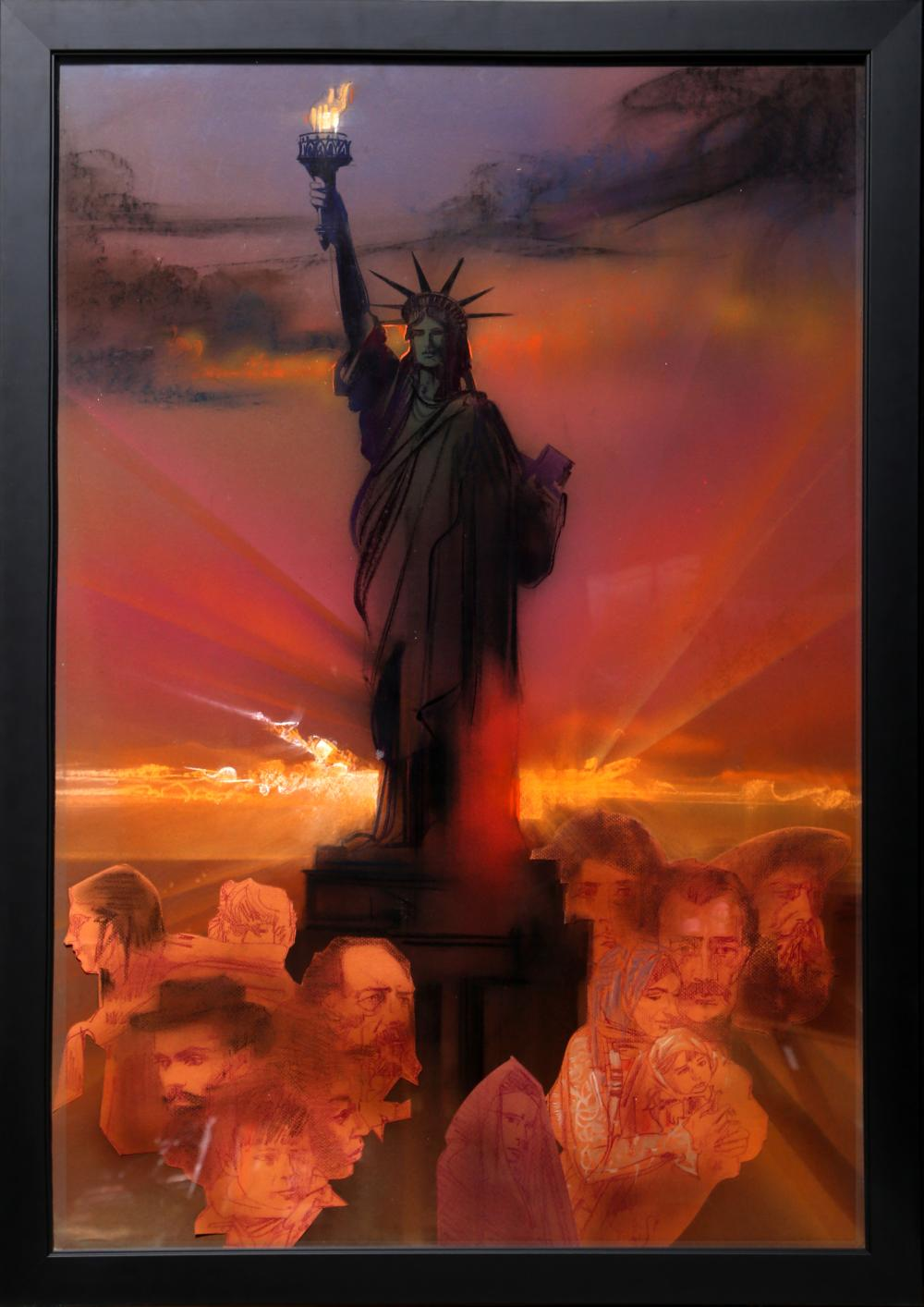 Yamagata, Statue of LIberty (Color), Pencil and Pastel with Collage