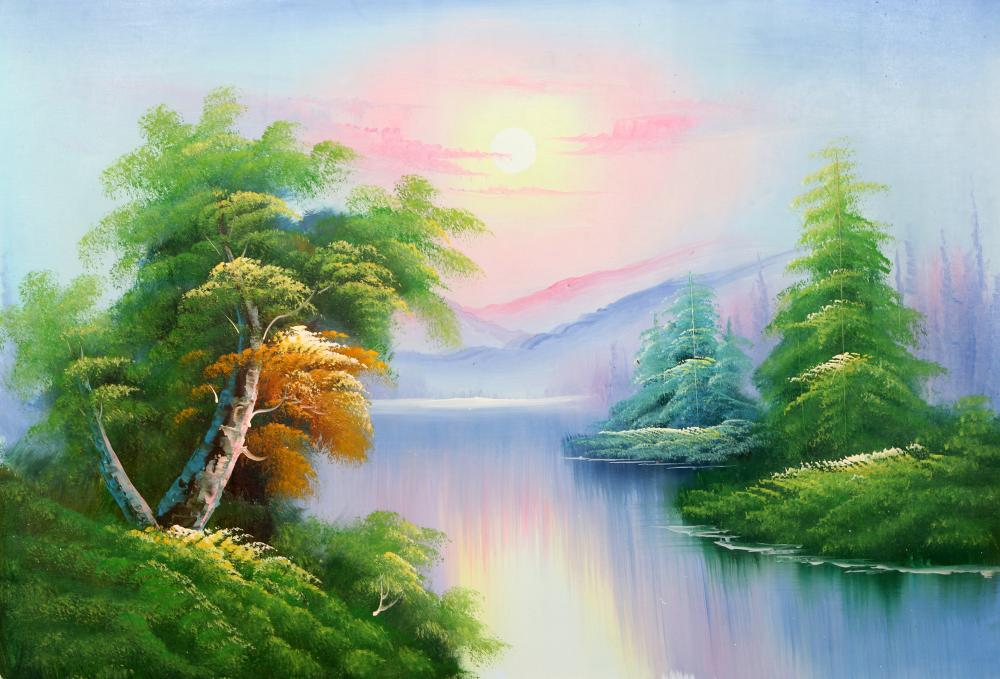 Mao Wu, Forest River Landscape (121), Oil Painting