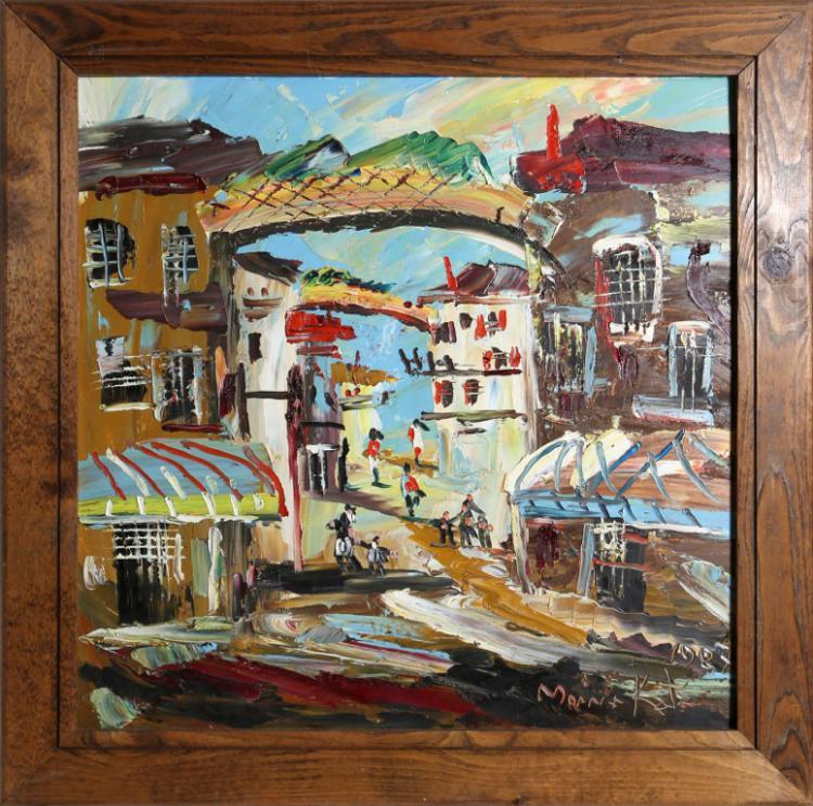 Morris katz village scene oil painting for Katz fine art