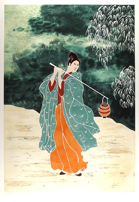 Gina Lombardi Bratter, Japanese Water Carrier, Lithograph