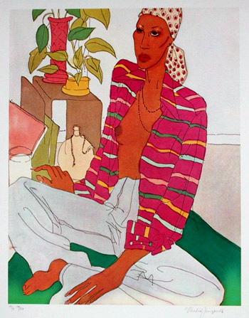 Vasilios Janopoulos, Portrait on Couch, Lithograph