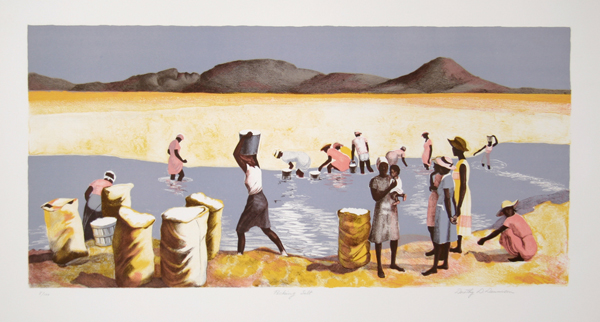 Dorothy Dennison, Picking Salt, Lithograph