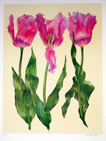 Carol Ann Bolt, Flowers Lithograph