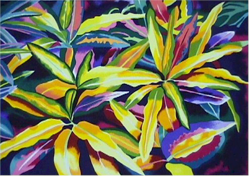 Linda Bastian, Tropical Leaves, Lithograph
