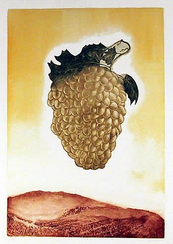 Hank Laventhol, Golden Grapes, Aquatint Etching