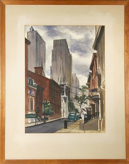 Joseph Barber, Street Scene, Pastel Drawing