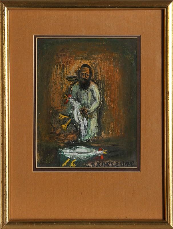 Simon Karczmar, Man holding Rooster, Pastel Drawings