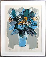 Oswaldo Guayasamin, Blue Flowers, Lithograph
