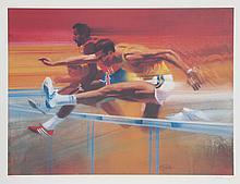 Robert Peak, Hurdlers, Visions of Gold Olympic Portfolio, Lithograph