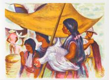 Anna Barry, Marketplace, Lithograph
