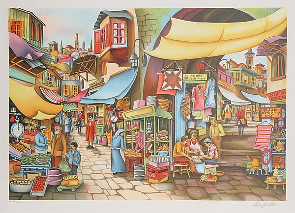 Ari Gradus, Market Place, Lithograph