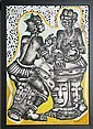 Mve Mve Jiyane, African Drummers, Mixed Media Painting