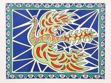 Edouard Dermit, Flying Peacock II, Lithograph
