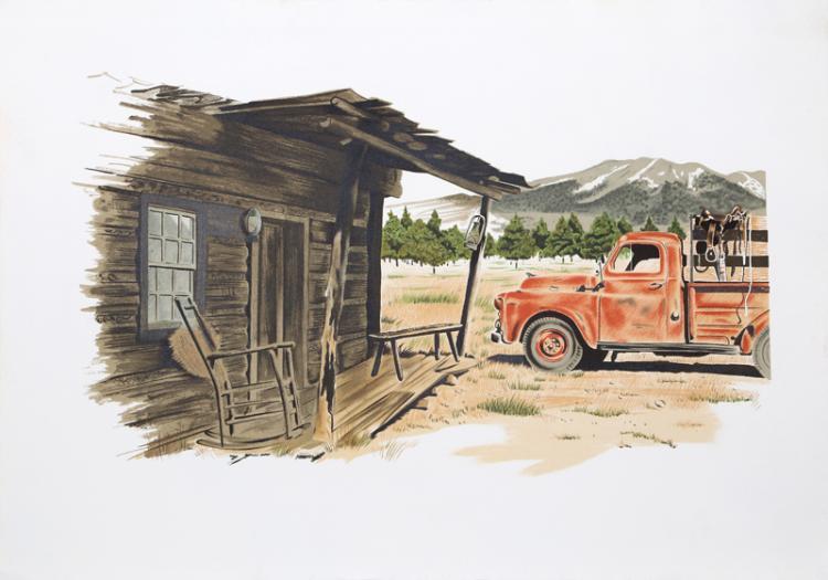 Henry Fonda, Red Truck, Lithograph