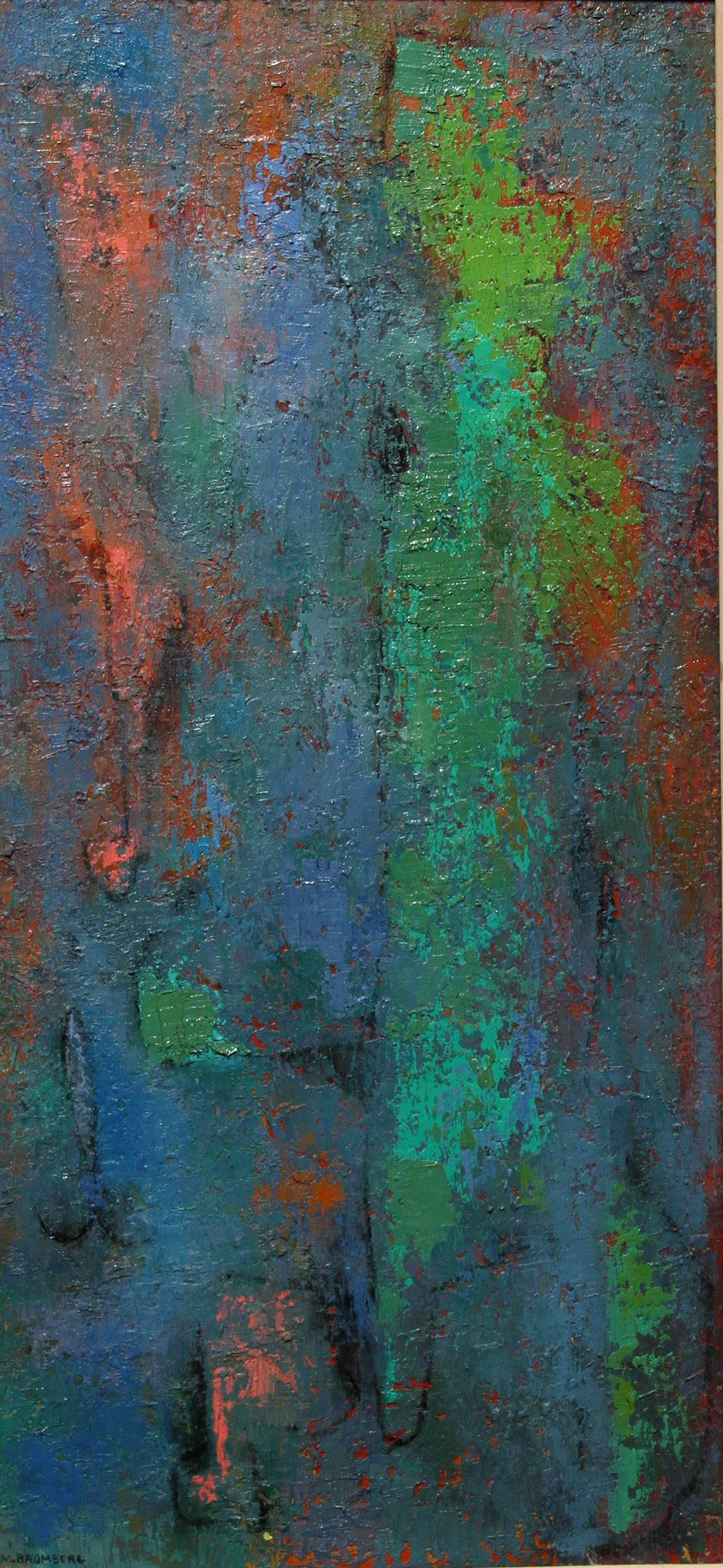 Miriam Bromberg, Abstract in Blue, Green, and Red, Oil Painting