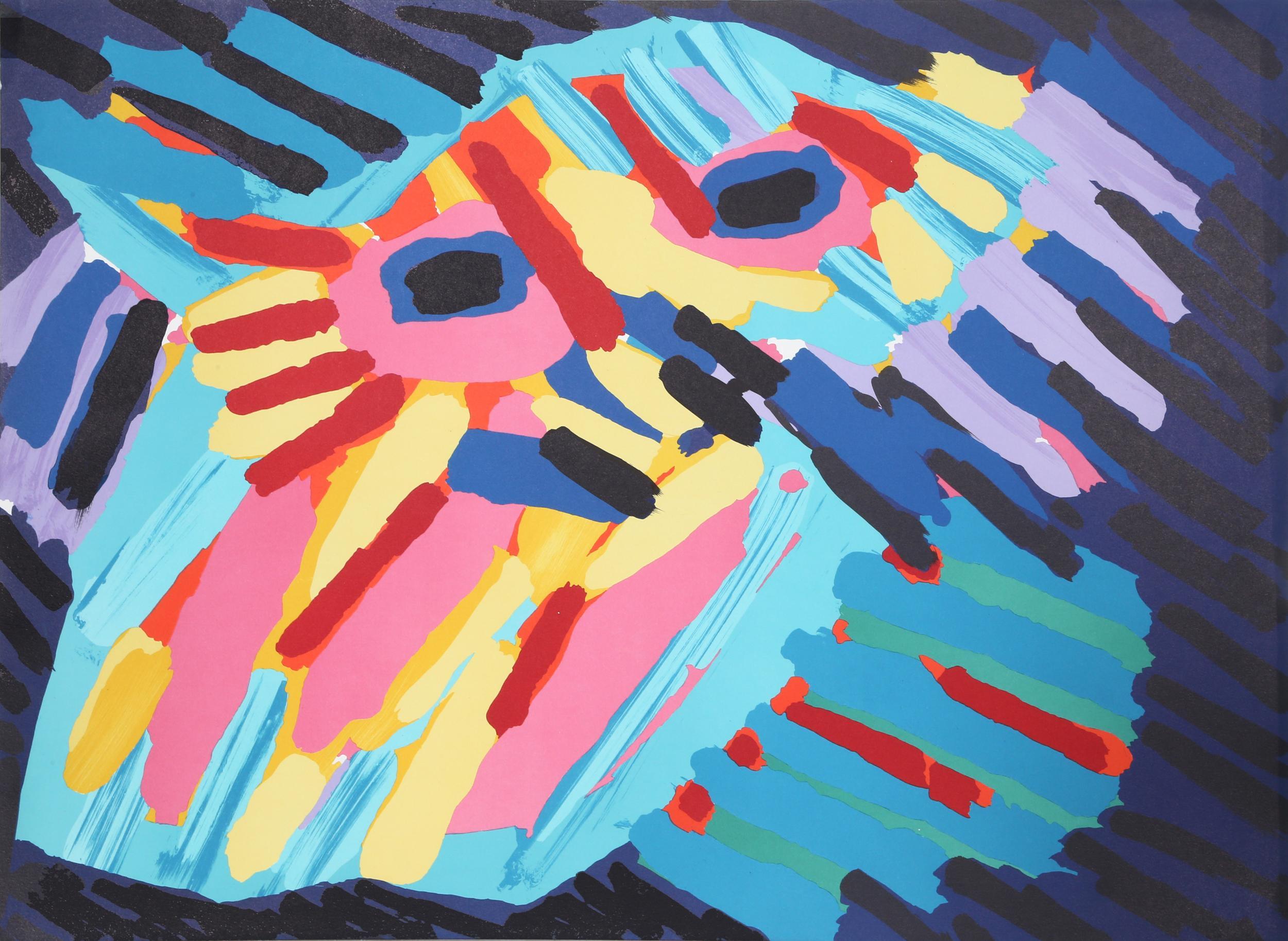 Karel Appel, Big Head Coming, Lithograph