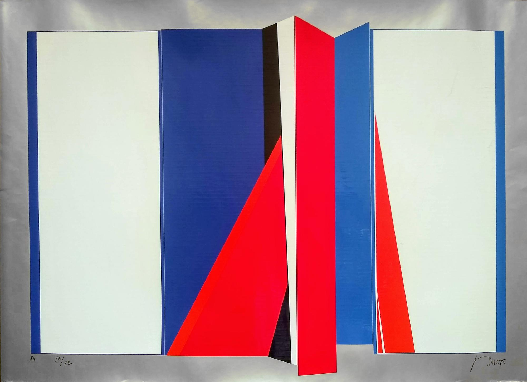 Jean Baeir, Red and Blue Origami, Serigraph on Foil