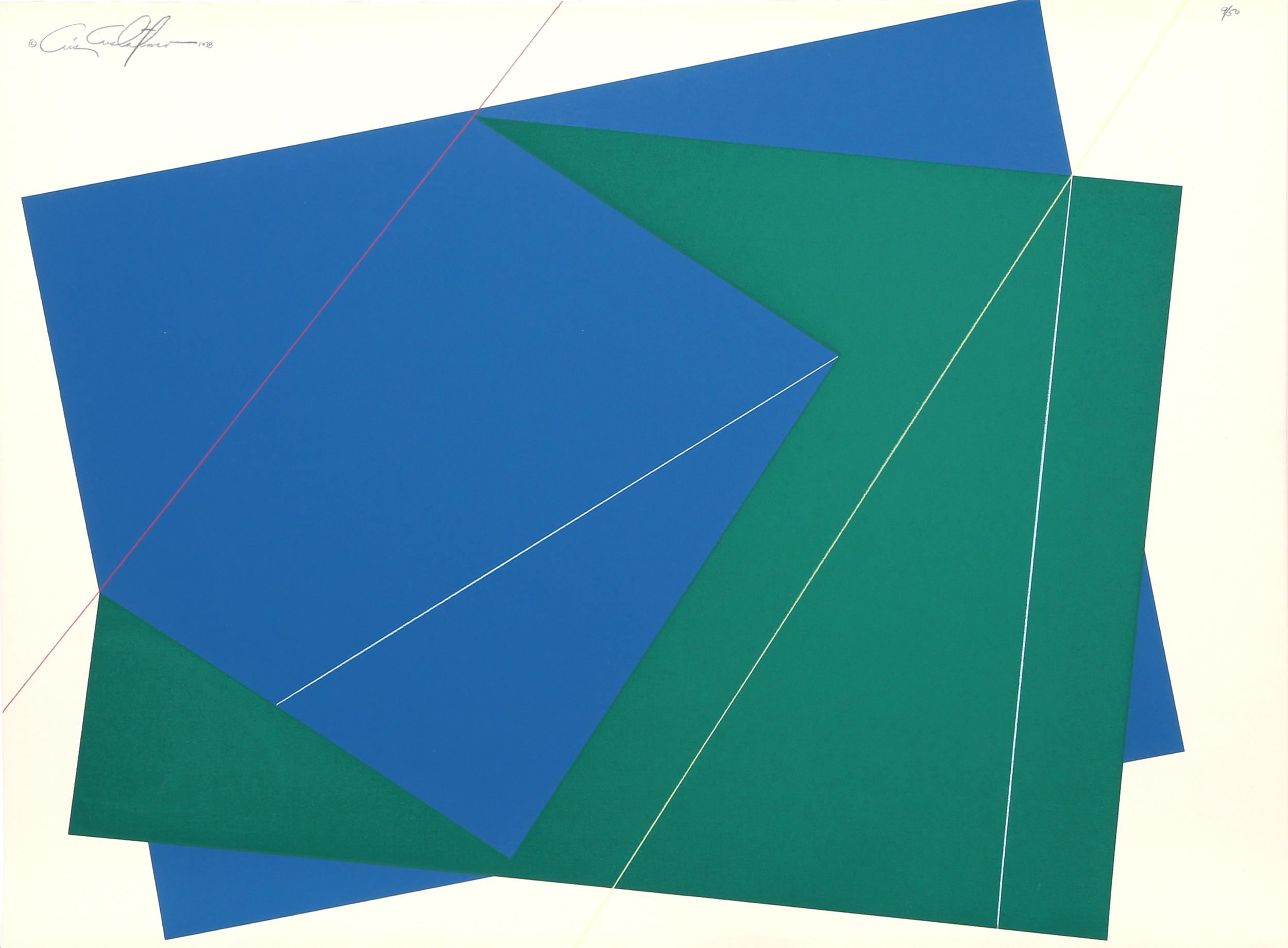Cris Cristofaro, Green and Blue Rectangles, Silkscreen