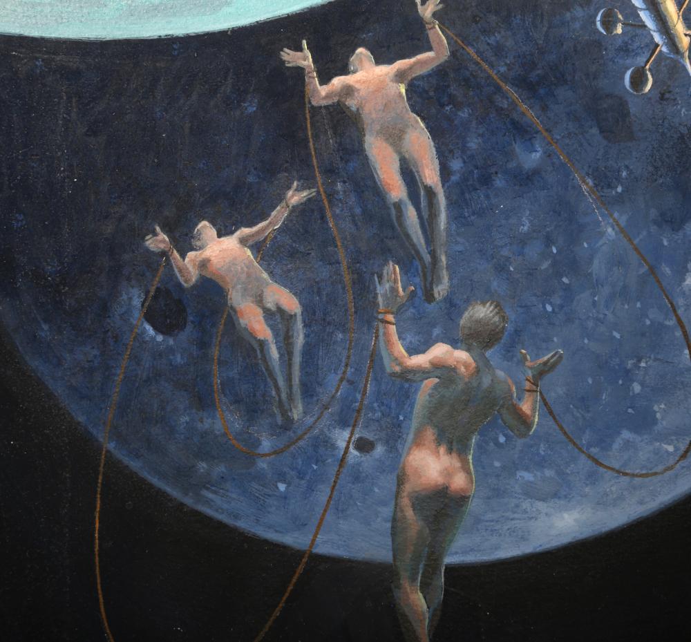O'Brien, Men on the Moon, Gouache Illustration Painting