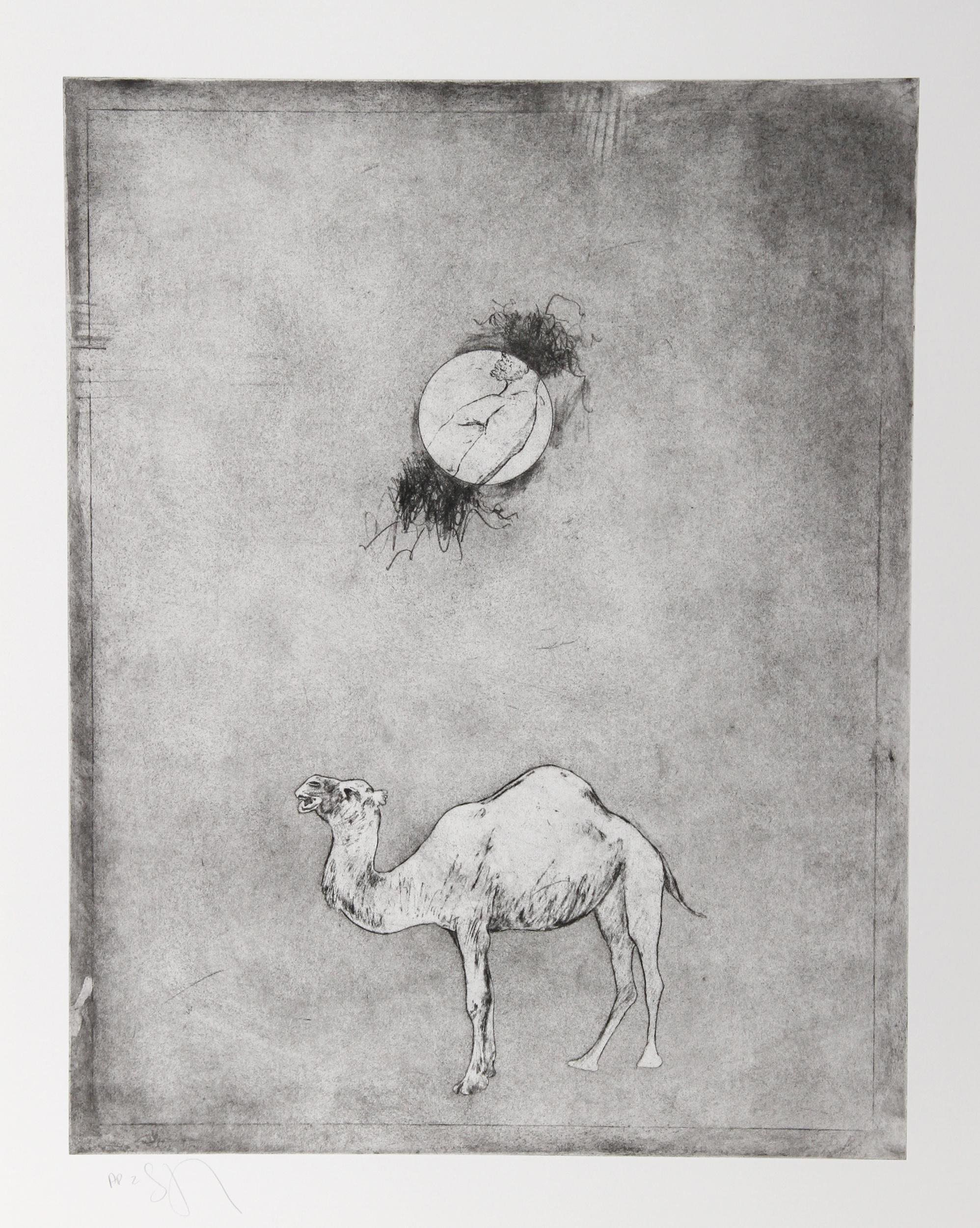Donald Saff, Camel Moon, Etching