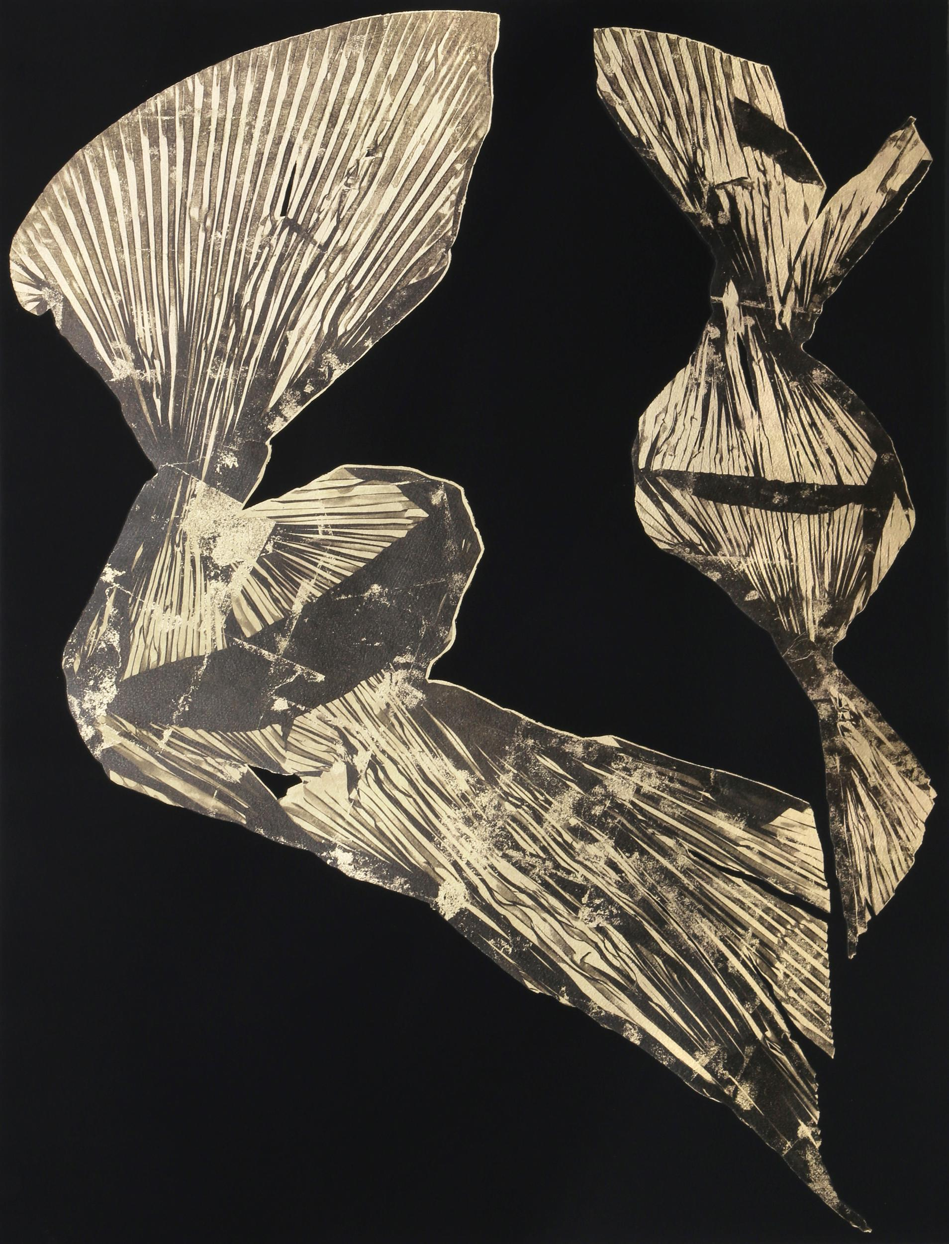 Lynda Benglis, Dual Nature (Black), Lithograph with Gold Leaf on Hand Tinted Paper