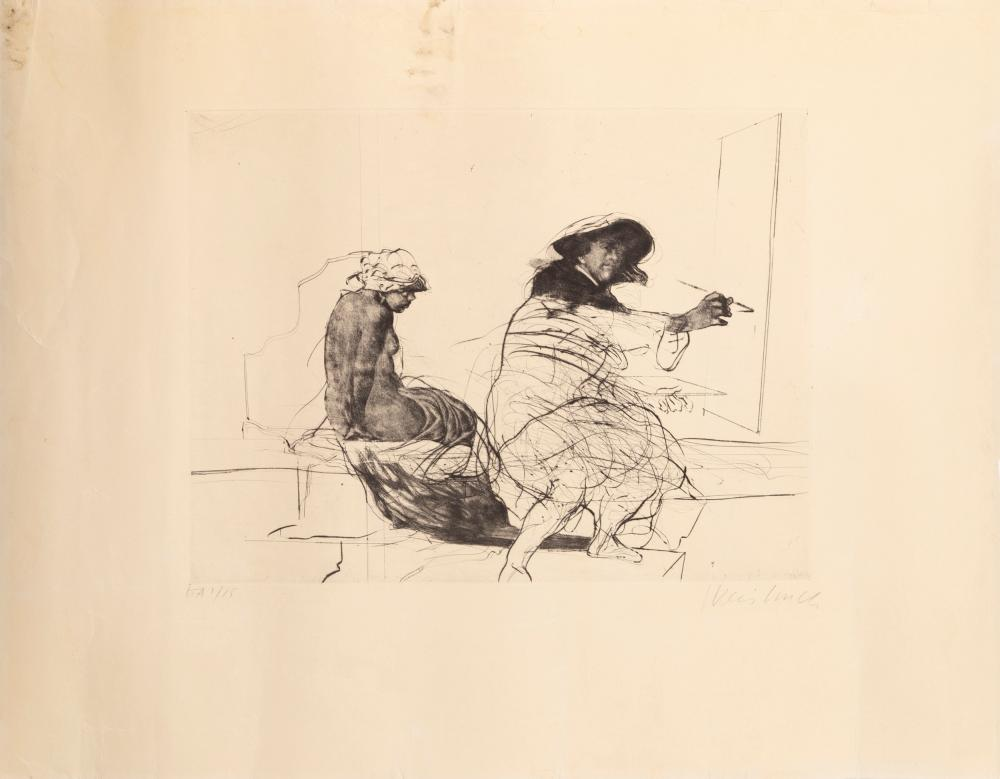 Claude Weisbuch, Painter and Model, Lithograph