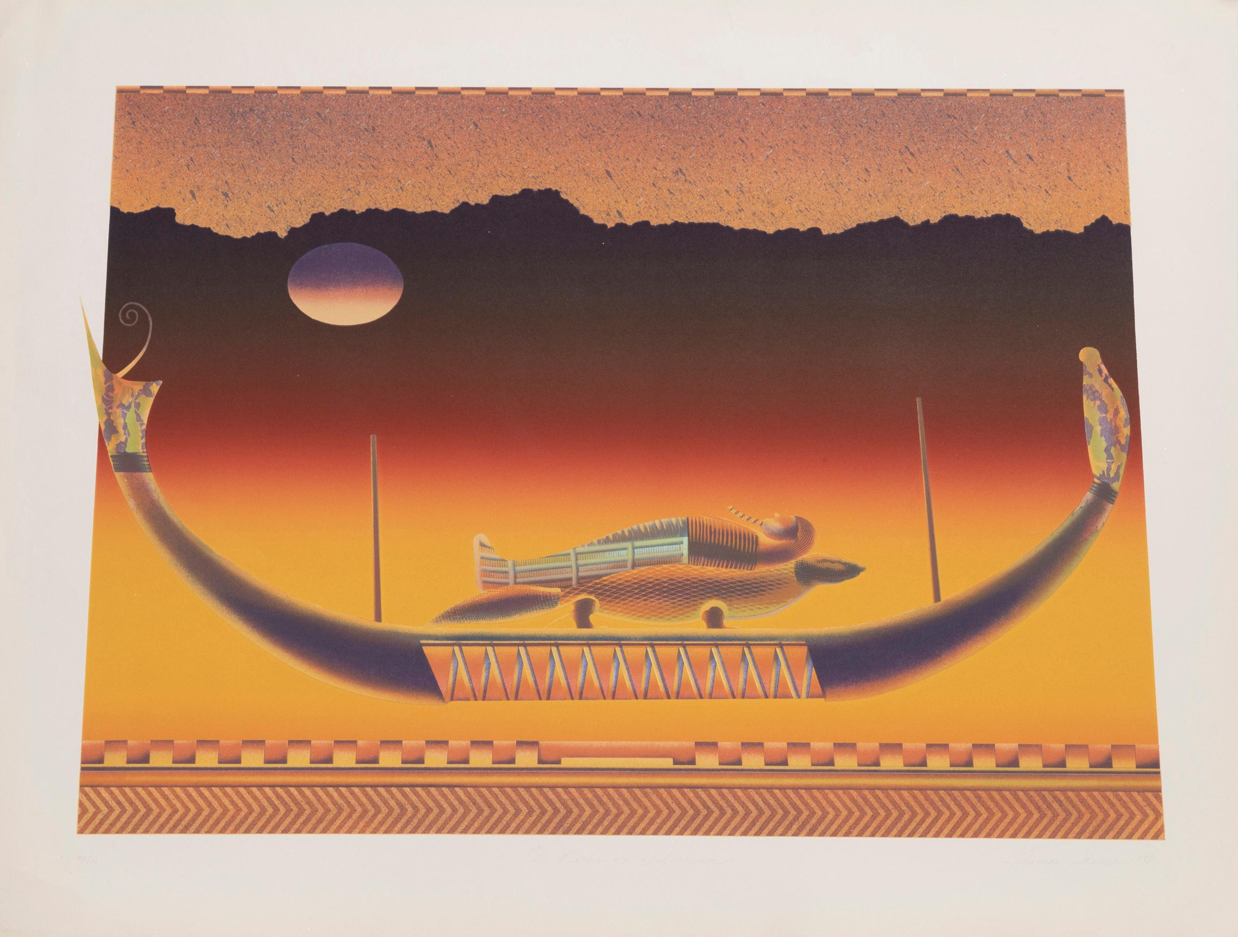 Thomas Akawie, Barge of Ichneumon, Screenprint