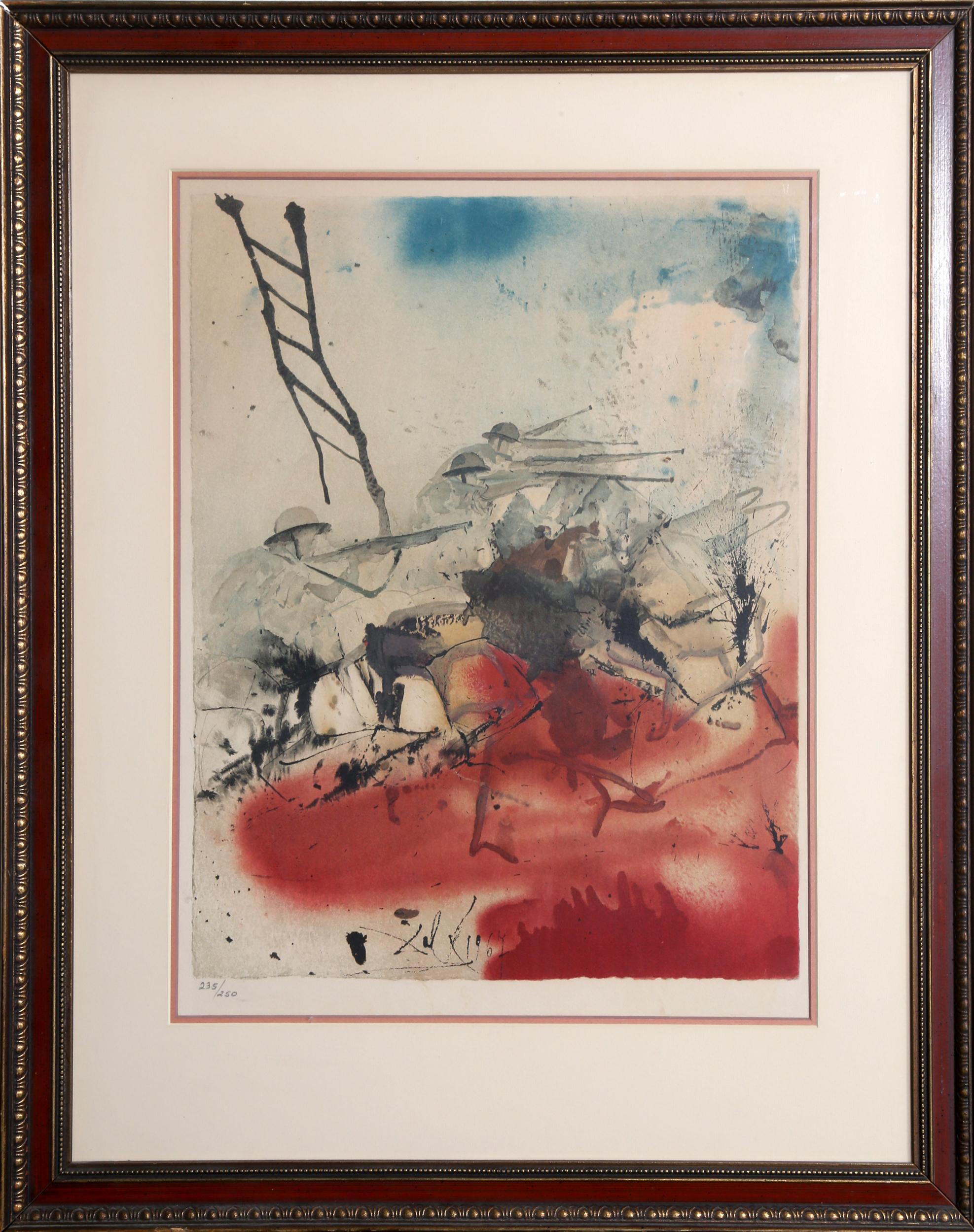 Salvador Dali, Battle of the Jerusalem Hills from the Birth of Aliyah Suite, Lithograph