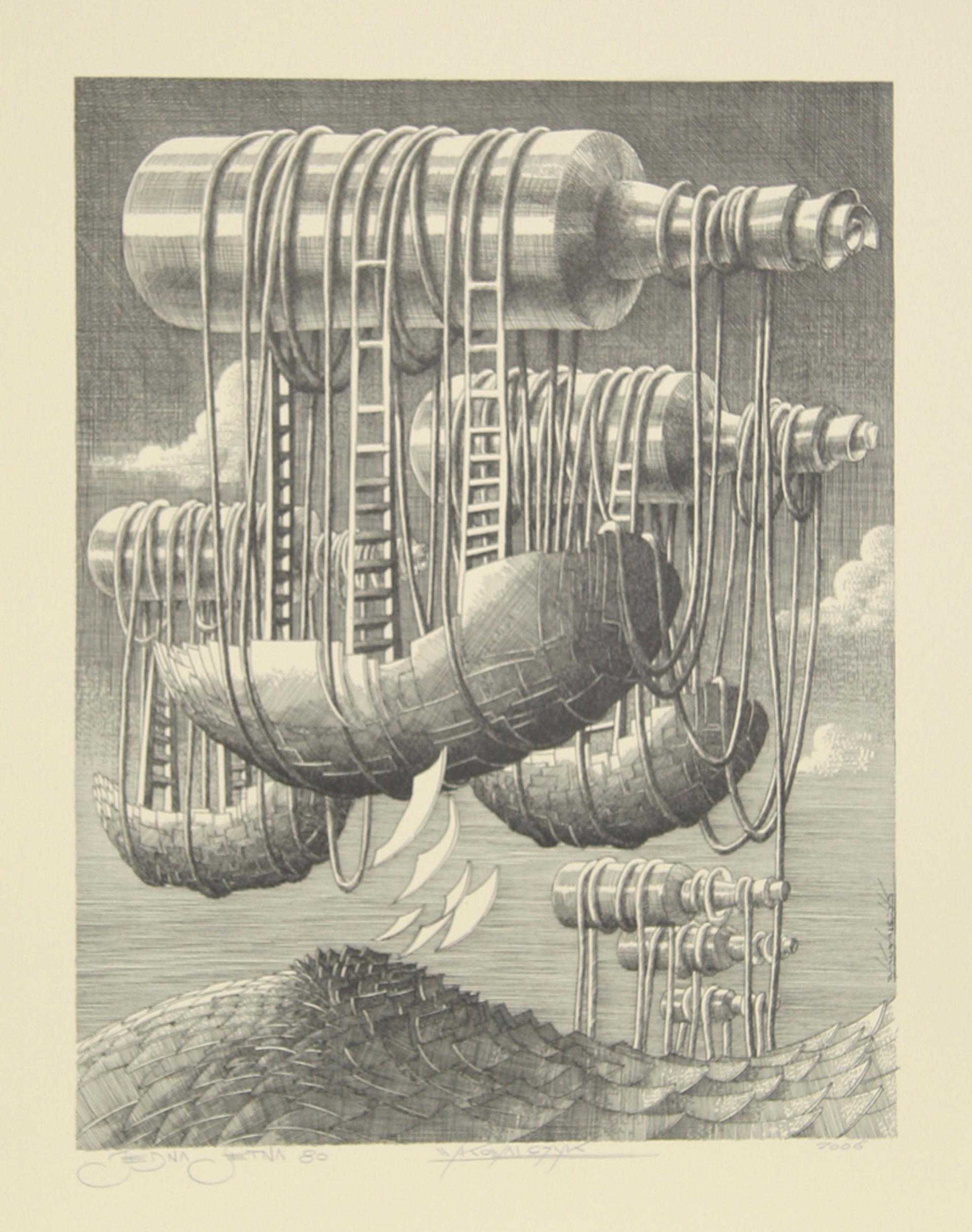Wojtek Kowalczyk, Message in a Bottle, Lithograph