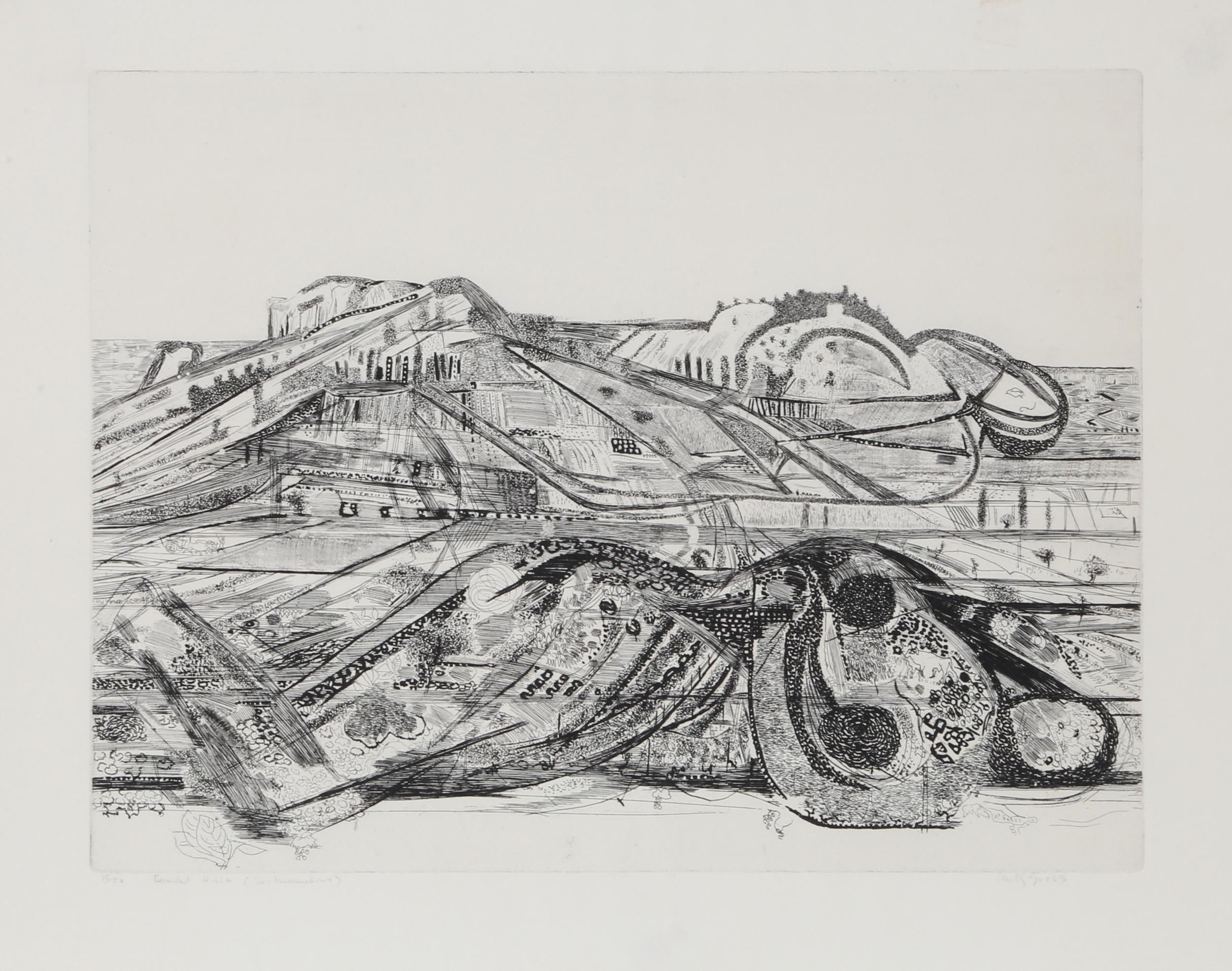 Anthony Gross, Rounded Hills (Les Mamelons), Intaglio Etching