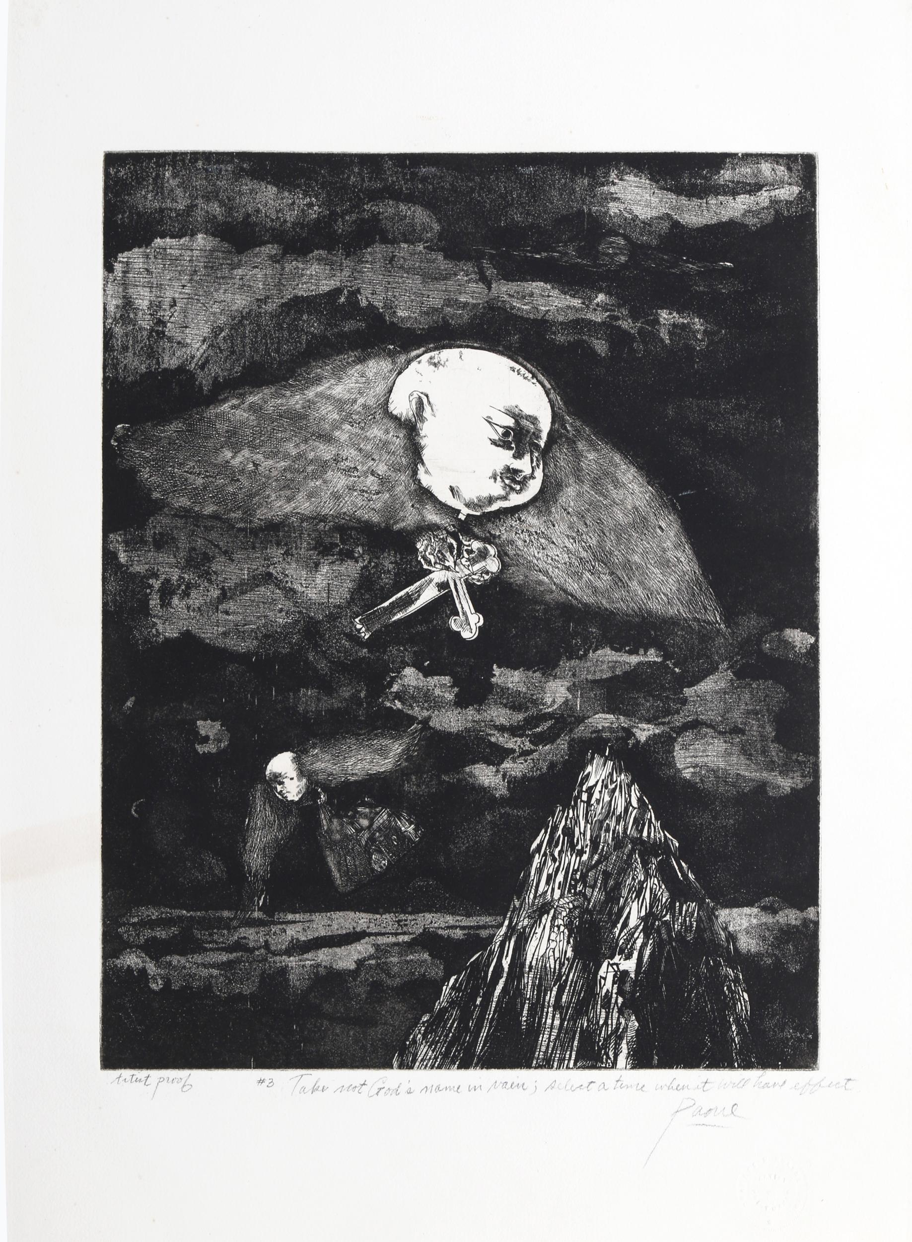 Peter Paone, Take Not God's Name in Vain Select a Time When It Will Have Effect, Etching