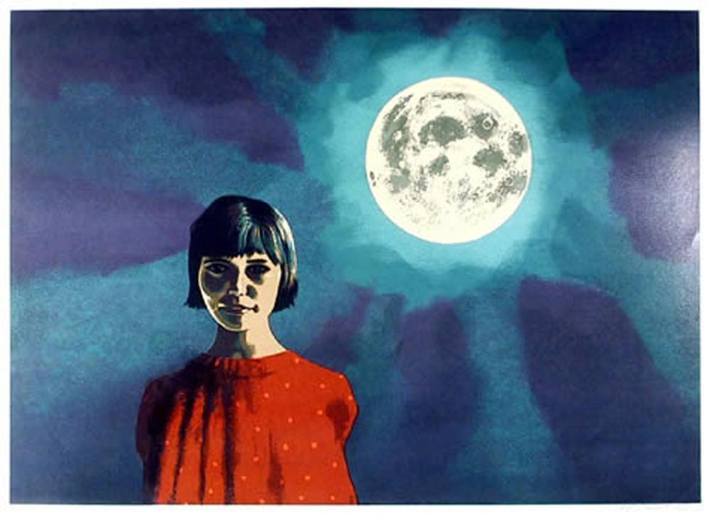 Bertha Vincent Walls, Girl and the Moon, Serigraph