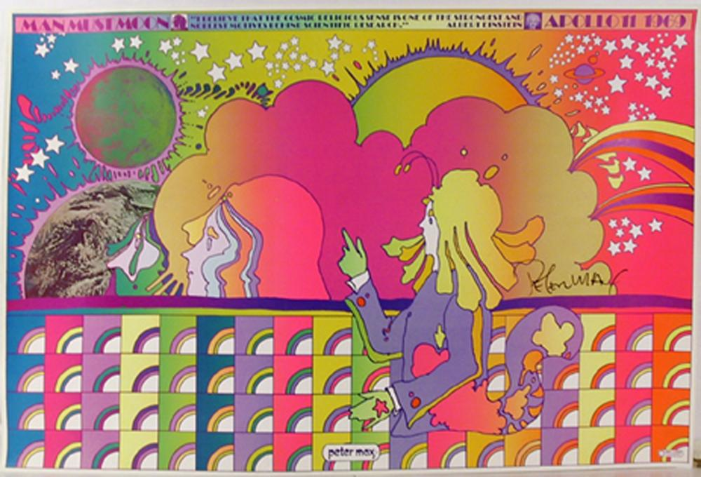 Peter Max, Apollo Number 1 (Man Must Moon), Poster
