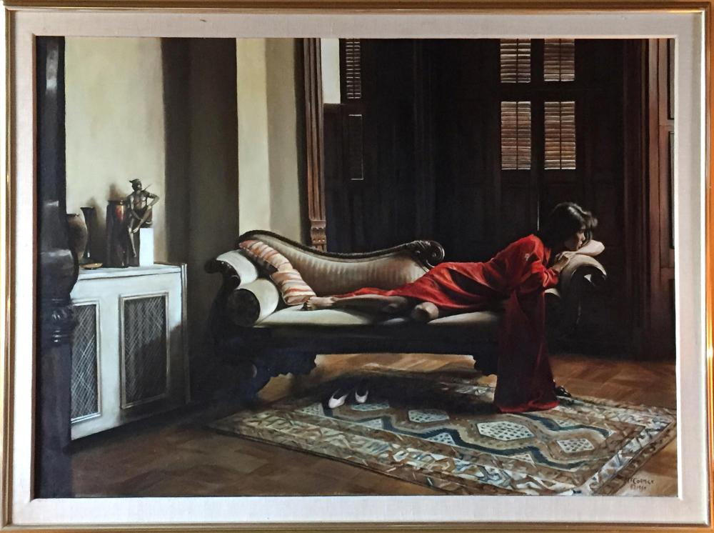 Harry McCormick, Woman in Red on Divan, Oil Painting