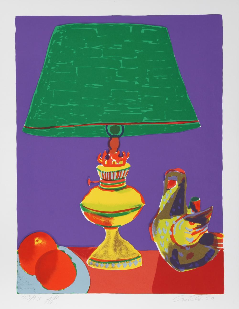 John Grillo, Pajaro (Green Lamp), Serigraph