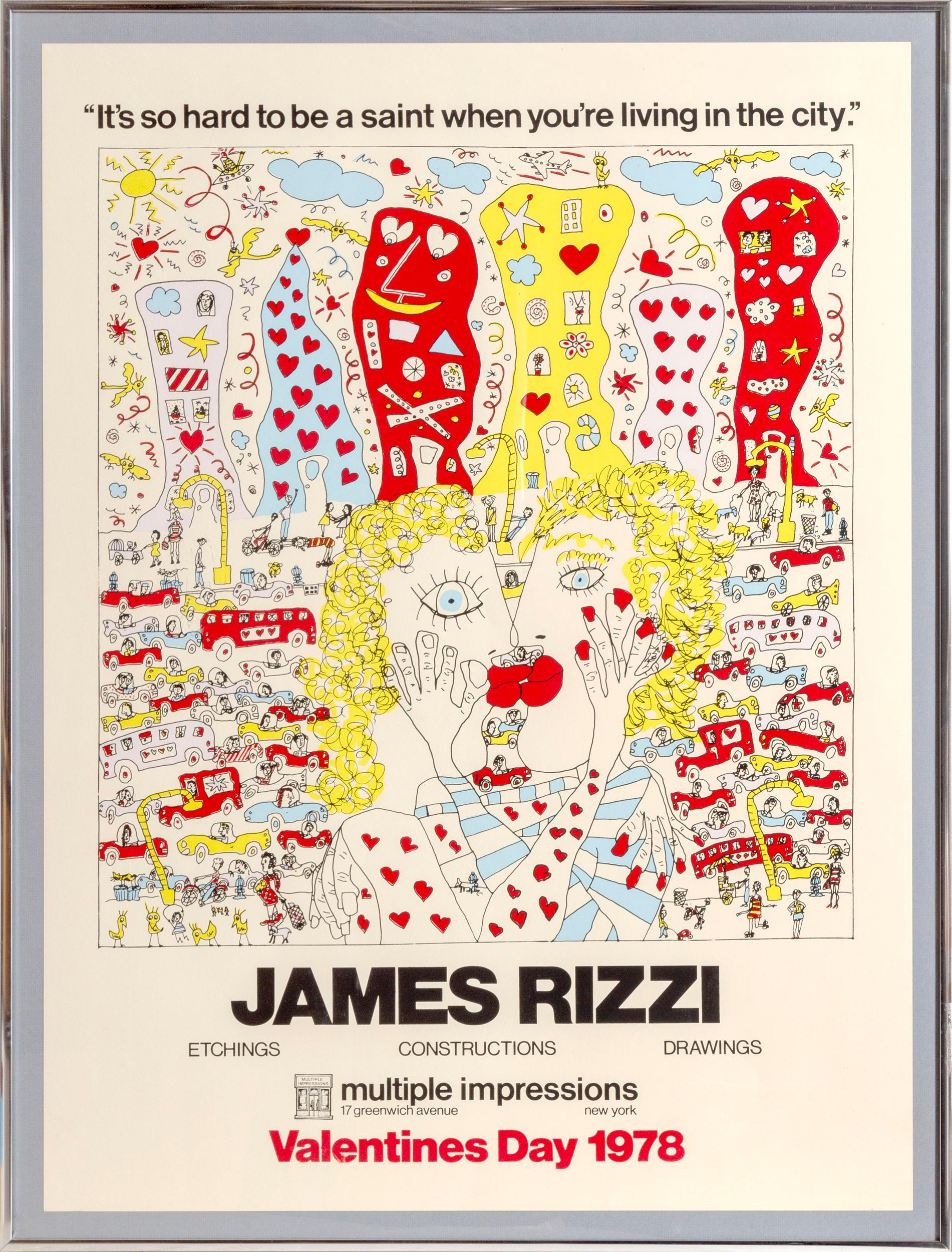 James Rizzi, It's So Hard to be a Saint When You're Living in the City (Valentines Day), Lithograph Poster