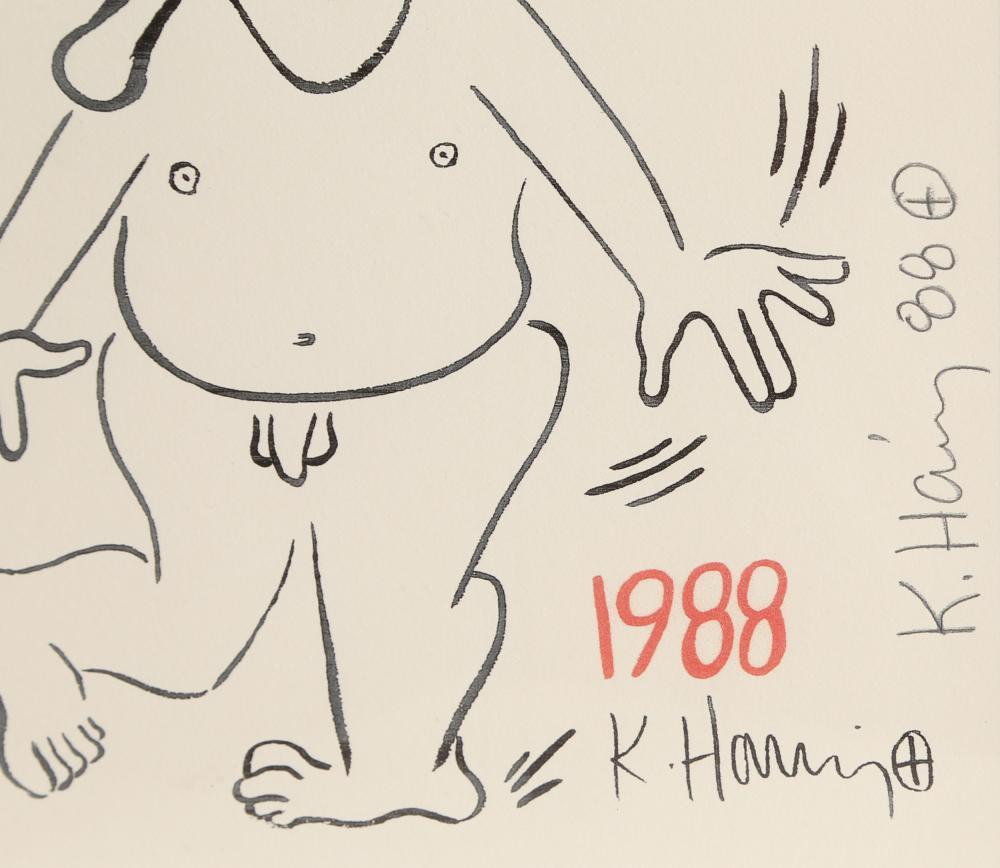 Keith Haring, New Years Invitation 1988 (Nude), Silkscreen
