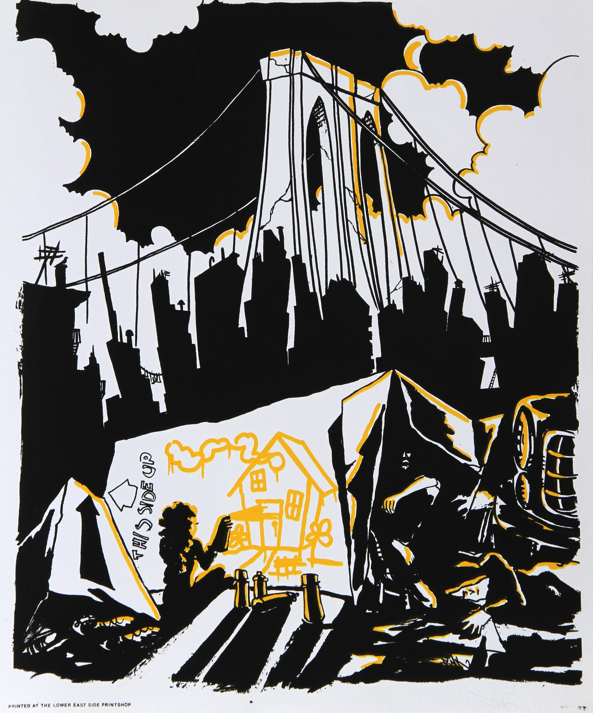 Lady Pink, Under the Brooklyn Bridge from Bullet Space, Your House is Mine, Silkscreen