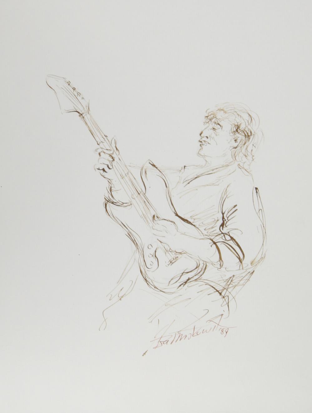Ira Moskowitz, Electric Guitarist - III, Ink Drawing