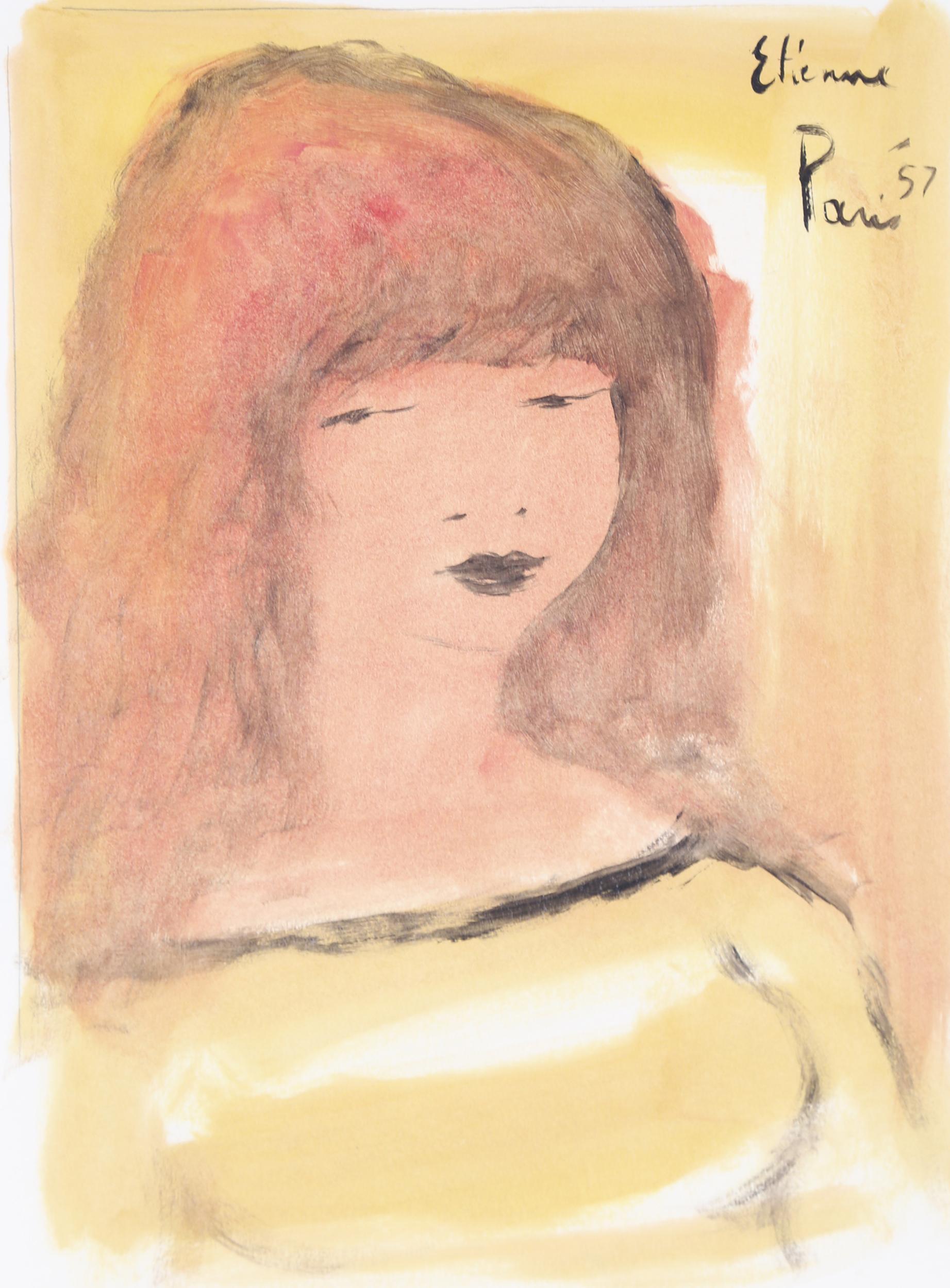 Roger Etienne, Portrait of Girl 2, Gouache Painting