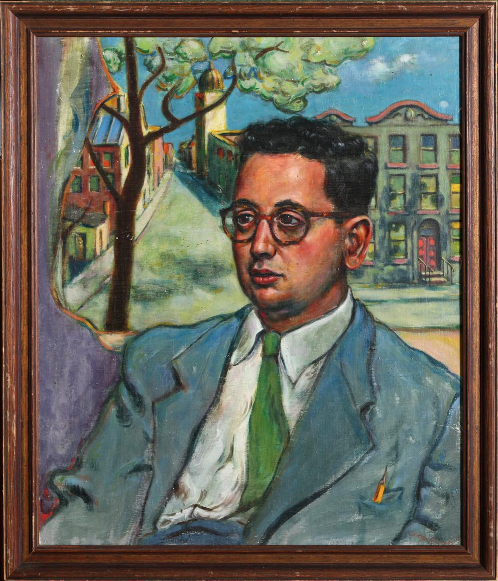 George Rhoads, Portrait of Man in Blue Suit, Double-Sided Oil Painting