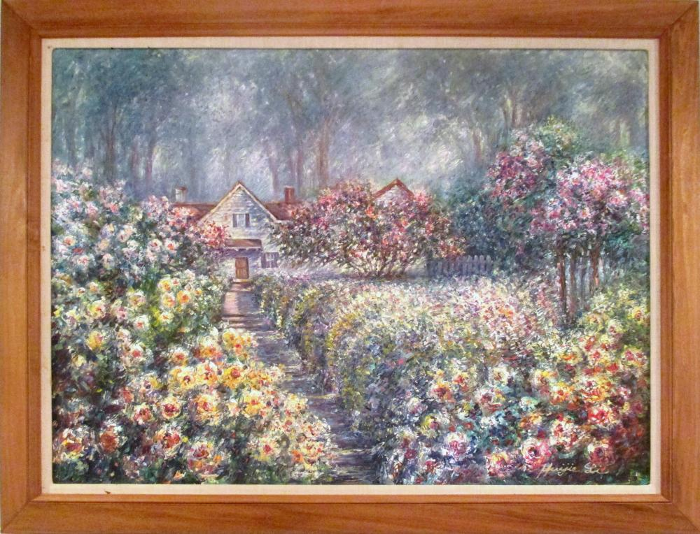 Huijie Li, Flower Garden, Oil Painting